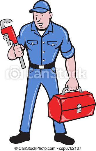 plumber repairman holding monkey wrench - csp6762107