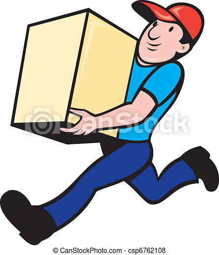 delivery person worker running delivering box - csp6762108