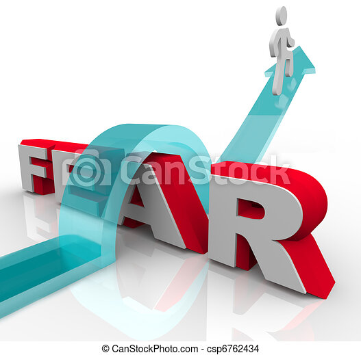 Conquering Your Fears - Jumping Over Word to Beat Fear - csp6762434