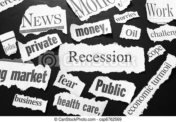 newspaper headlines showing bad news, recession related - csp6762569