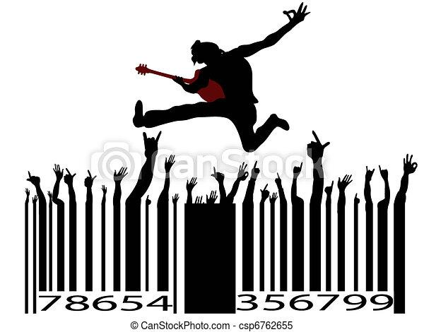 rock music bar code  - csp6762655