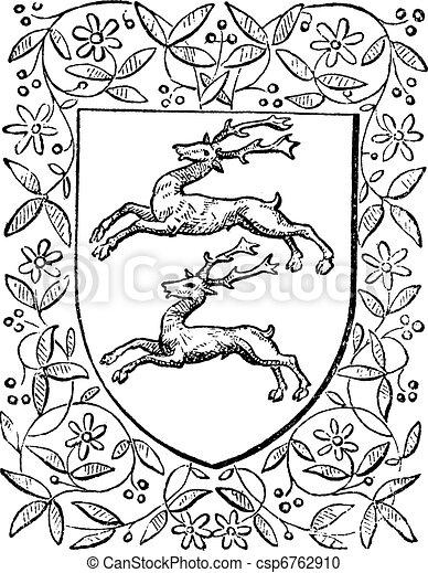 Common deer, retro design, vintage engraving - csp6762910