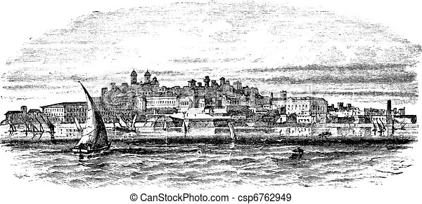 Montevideo, capital city of Uruguay, vintage engraving - csp6762949