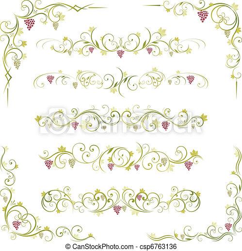 wine scroll ornament - csp6763136