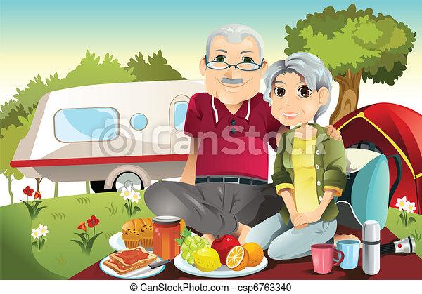 Senior couple camping - csp6763340
