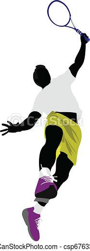 Tennis player. Colored Vector illu - csp6763392
