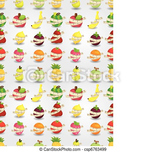 fresh fruit and ruler health seamless pattern - csp6763499