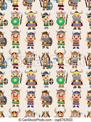cartoon vikings pirate seamless pattern - csp6763503