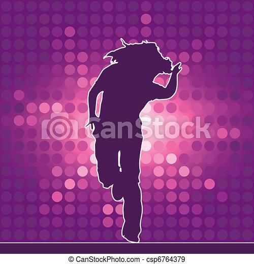 dancing silhouette, hip-hop - csp6764379