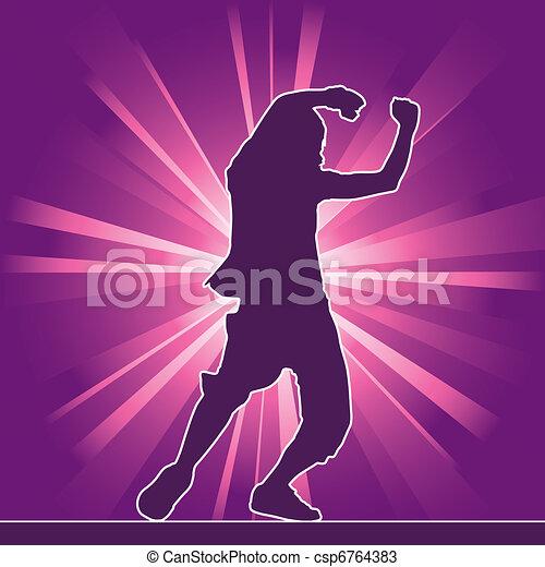 dancing silhouette, hip-hop - csp6764383