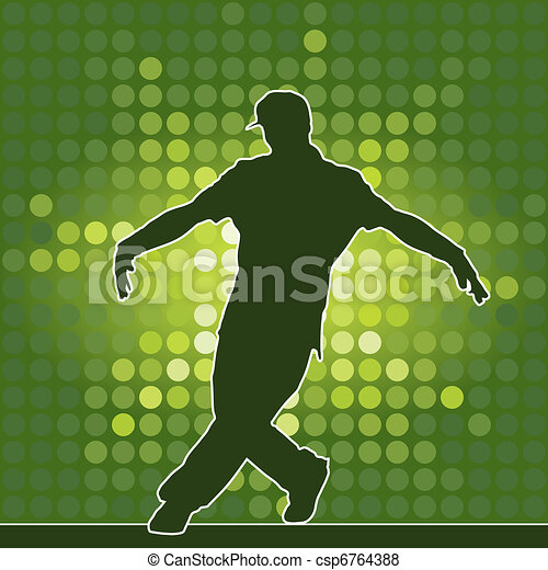 dancing silhouette, breakdance - csp6764388