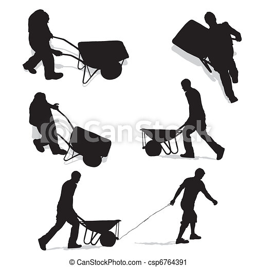 construction workers with wheelbarrow - csp6764391