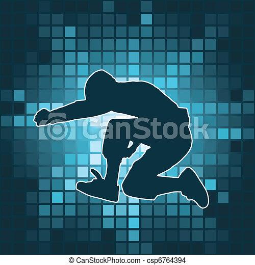 dancing silhouette, jump - csp6764394