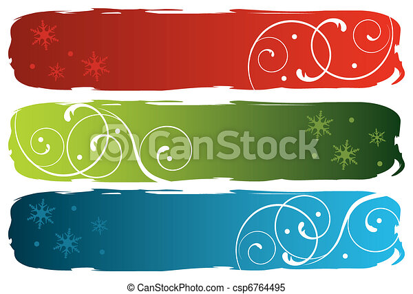 grungy winter banners - csp6764495