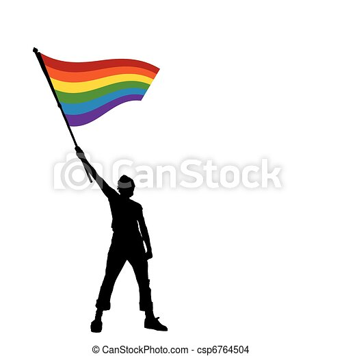 man holding a peace flag, vector illustration - csp6764504