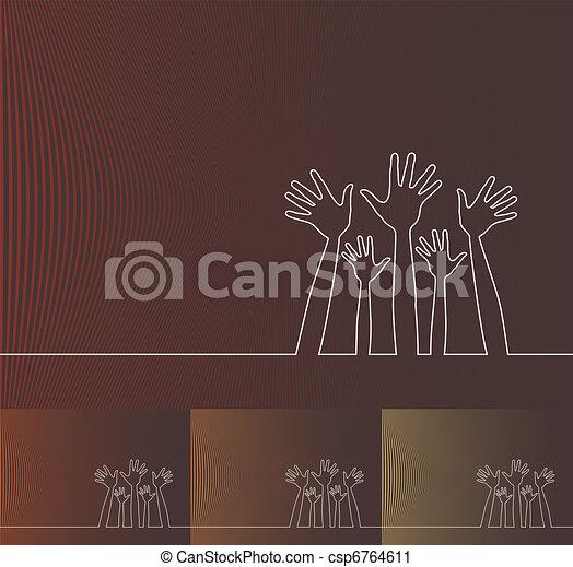 Simple line illustration of hands. - csp6764611