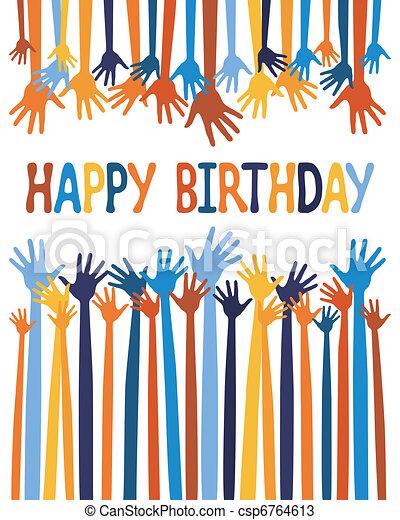 Excited hands birthday card design. - csp6764613