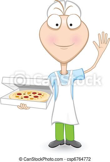 Boy Chef Showing A Delicious Pizza  - csp6764772