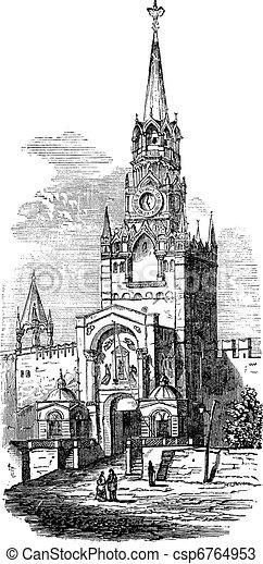 Sacred Gate at kremlin vintage engraving - csp6764953
