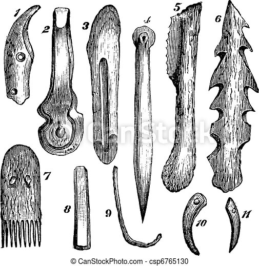 Bone implements, flint and wood, found in Moosseedorf vintage engraving - csp6765130