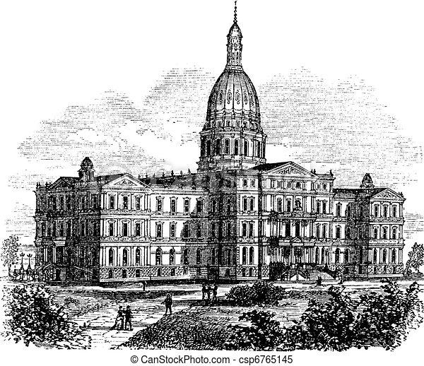 Michigan State Capitol Building. Lansing, United States vintage engraving - csp6765145