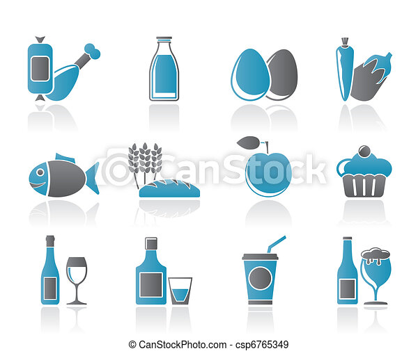 Food, drink and Aliments icons - csp6765349