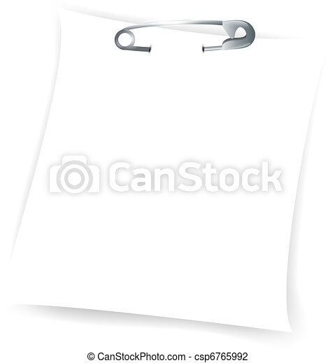 paper sheet attached with safety pin - csp6765992