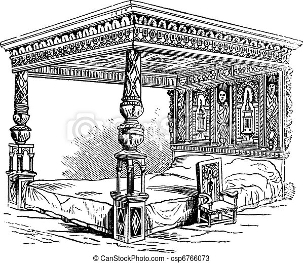 Great Bed of Ware, vintage engraving - csp6766073