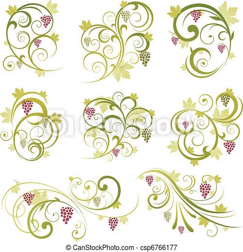 wine grapes ornament - csp6766177