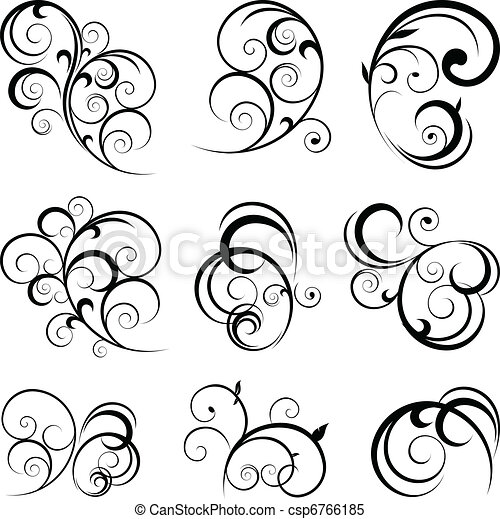 decorative scroll shapes - csp6766185