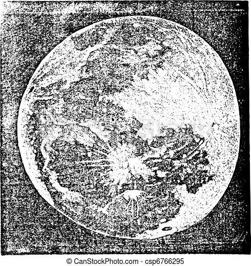 Full Moon Photograph taken by Prof. H. Draper New York vintage engraving - csp6766295