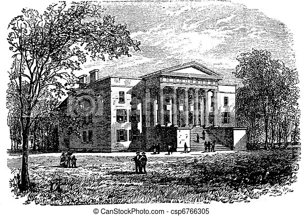 College of Arts, University of Kentucky, Lexington, vintage engraving - csp6766305