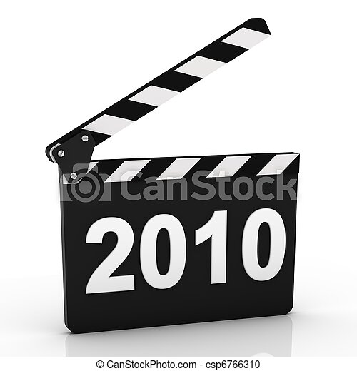 Opened Clapboard in Perspective with 2010 year - csp6766310