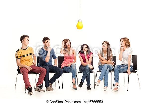 light bulb pondering  - csp6766553