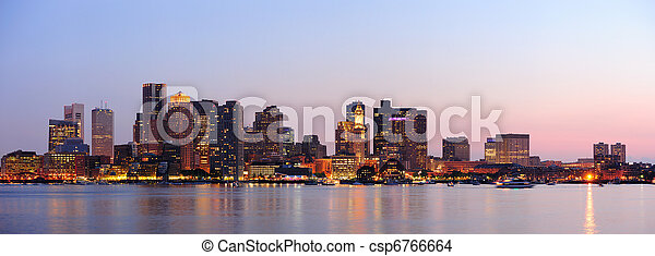 Boston downtown panorama at dusk - csp6766664