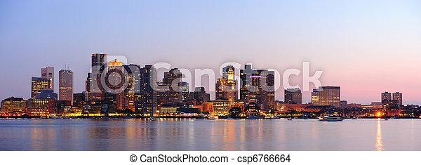 Boston downtown panorama at dusk - csp6766664