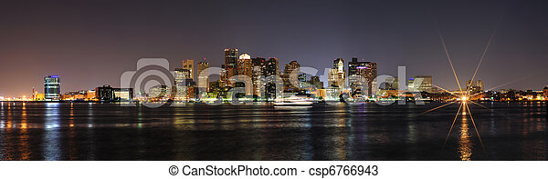 Boston downtown panorama at night - csp6766943