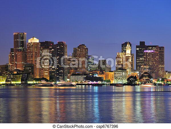 Boston downtown at dusk  - csp6767396