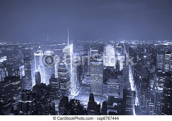 New York City Manhattan Times Square skyline aerial view - csp6767444