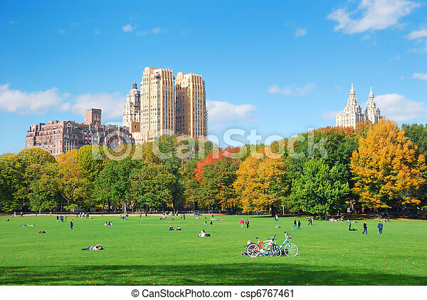 New York City Central Park with cloud and blue sky - csp6767461