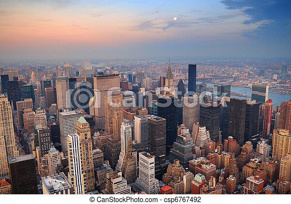 New York City Manhattan skyline aerial view - csp6767492