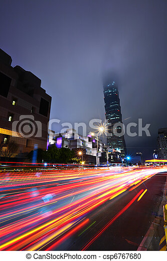 Taipei commercial district at night - csp6767680
