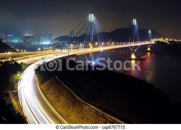 highway and Ting Kau bridge at night - csp6767715