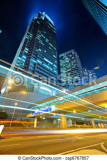 light trails on the modern building background - csp6767857