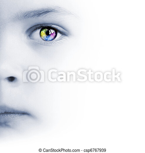 Child's face, colorful eye and map - csp6767939