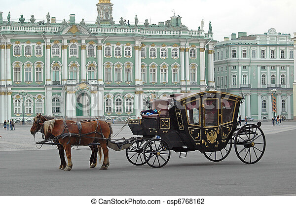 Carriage near the Hermitage in St. Petersburg  - csp6768162