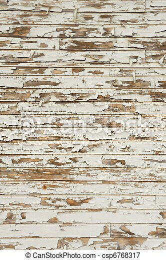 Old Wood with Peeling Antique White Paint - csp6768317