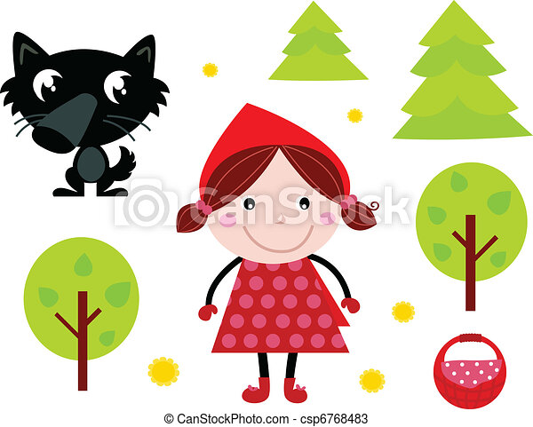 Cute Red Riding Hood, Wold & Accessories, Icons  - csp6768483