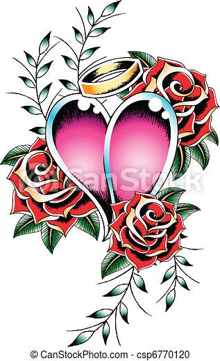 gothic heart tattoo emblem - csp6770120