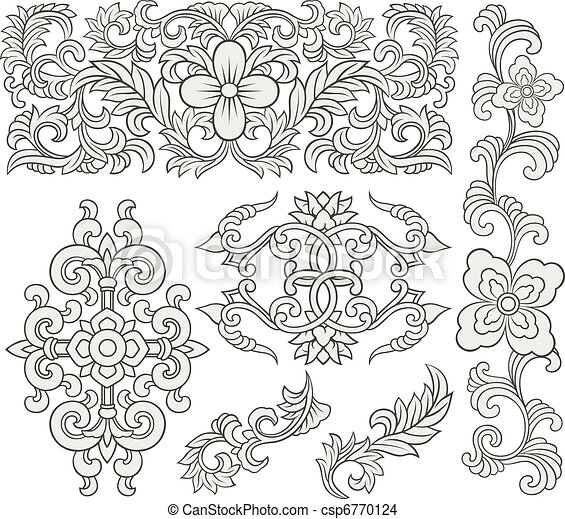 floral scroll decorative pattern - csp6770124